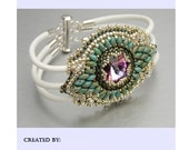 Free Shipping, KIT, Tutorial ,Pattern, Bead embroidery ,Beading pattern , Instructions and Material, Maracesh bracelet
