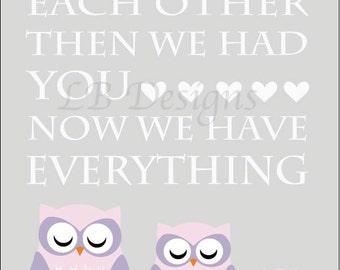 Girl Owl Nursery Decor, Pink Owl Decor, Girl Woodland Nursery Art, Girl Fox Nursery Decor, Playroom Decor, Gift for New Baby - 8x10