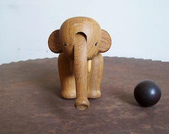 Kay Bojesen Elephant Denmark wood toy elephant vintage Danish Modern oak elephant articulating toy free shipping to USA