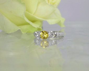 Gold gemstone sterling ring, Beryl Ring, Yellow Beryl Ring, Sterling Silver Gemstone Ring, Herkimer Diamond Ring, Yellow gemstone ring