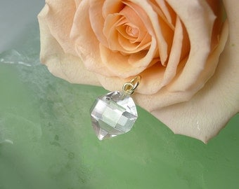 Herkimer Diamond Natural Crystal Pendant Raw Crystal Jewelry Gold Pendant Gift for Her, Anniversary Gift ,Handmade Jewelry,