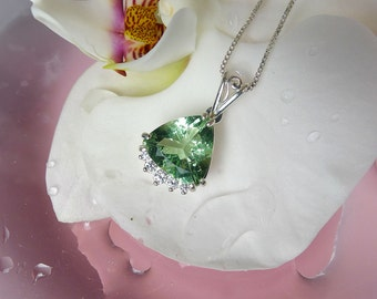 Reserved Final Payment Listing for Nicole  Green Fluorite Cushion Cut Pendent Sterling Silver and White Topaz New Hampshire Found Gemstone