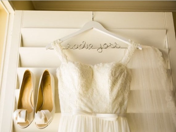 Personalized wedding dress hanger white hanger hanger for for Wedding dress personalized hanger