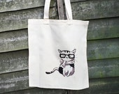Nerd Cat Tote Bag - Handmade Illustration, Shopping Bag, Fabric Tote, Unique Drawing, Independant Artist, Cat Lover Gift