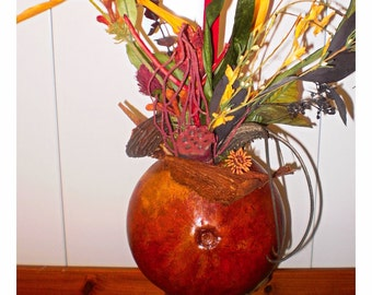 Art Gourd Art Mahogany Vase With Unique Dried Plumage