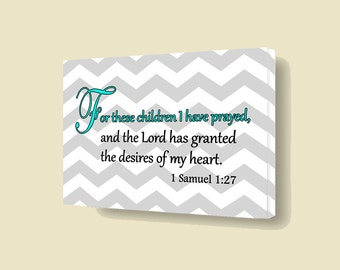 For These Children I Have Prayed Bible Canvas Stretched Over Wooden Frame For Kids Rooms Wall Art Home Decor VWAQ-A170