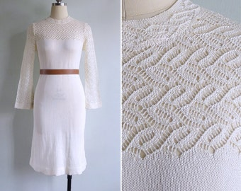 Vintage 70's 'Snow Angel' Cream Crochet Knit Dress XS or S