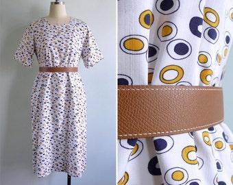15% SALE (Code In Shop) - Vintage 60's 'Sunny Side Up' Novelty Egg Print Shift Dress L or XL