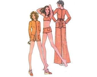 1970's Rick Rack Bikini Pattern Swimsuit Hip Hugger Boy Shorts and Cover Up Bathing Suit Beach McCalls 3258 Bust 34 Vintage Sewing Pattern