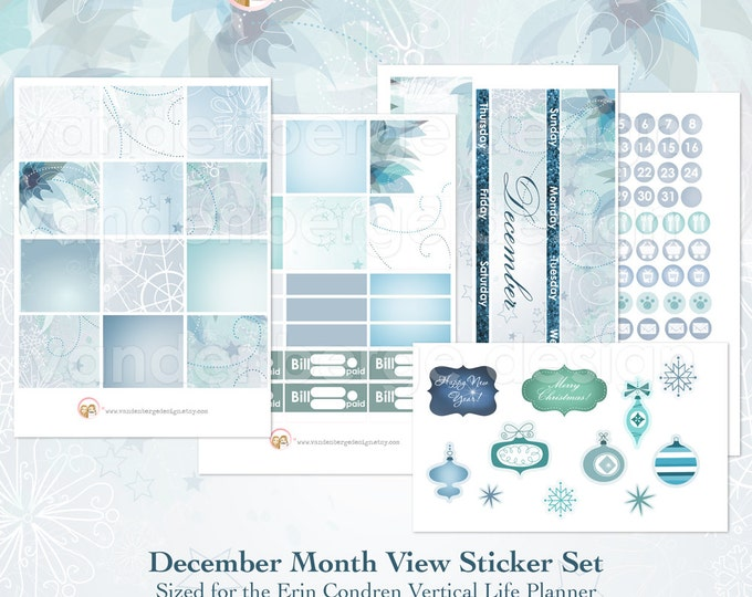 December Month View Kit for Erin Condren Life Planner or The MAMBI Happy Planners