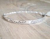 Personalized Bracelet - Sterling Silver Cuff Bracelet - Hand Stamped - Gift for Her - Mother Jewelry - New Mom Bracelet