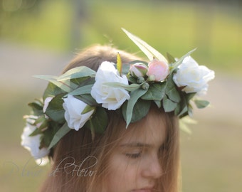 Rose flower crown, White, pink rose hair flowers, silk rose flower crown, bridal flower crown, flowers for hair, wedding crown, photoshoot
