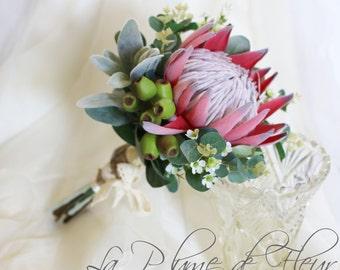 Amarina - Bride / Bridesmaid.  King protea, Geraldton wax, gumnuts and Australian native foliage.
