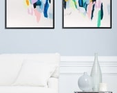 Giclee print of Abstract Painting Geometric Art Large Wall Art Painting Print Blue Pink mid century modern art Duealberi