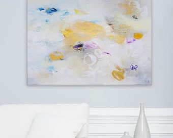 "White and gold wall art, Abstract painting, 40x28"" large art, acrylic painting, textured by Duealberi"