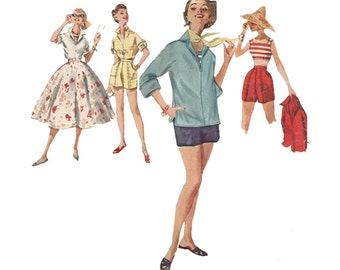Misses Top, Shorts, Bouffant Skirt & Blouse Size 12 Simplicity 1170 Weekend Wardrobe Uncut Vintage 1950s Vintage Sewing Pattern
