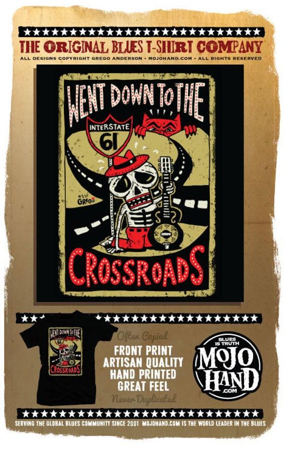 Crossroads Blues folk art screenprinted t-shirt by Grego from Mojohand.com