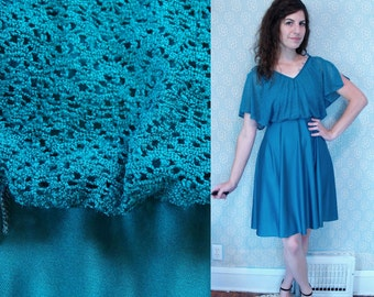 1970s Vintage Midi Short Flutter Sleeve Turquoise Aqua Teal Blue Green Polyester Disco Dress / Layered Dress Dancing Queen / Small S 4 5 6