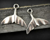 4 Mykonos Whale Tail Pendant - Pewter