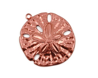 6 Sand Dollar Pendant - Copper - Solid Raw Copper Large Sand Dollar