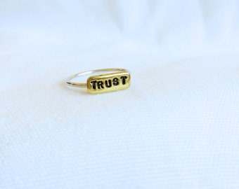 Trust Ring - Size 8 - Brass Pendant with Sterling Silver Band - Rustic Hand Stamped Ring. Perfect addition to your stacking rings
