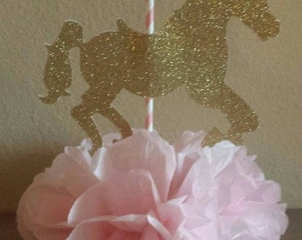 Carousel horse Birthday Party or baby shower centerpiece Pink and Gold Princess 1st birthday table decor