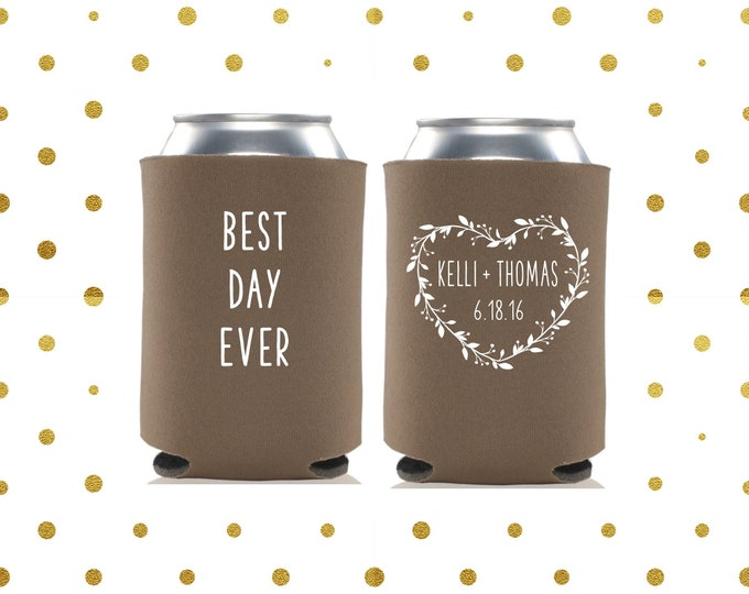 Wedding Can Coolers | Best Day Ever | Rustic Wedding Wreath Can Cooler | Personalized  for Bride and Groom with Wedding Date