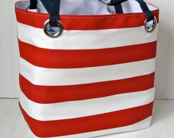 HUGE Monogram Nautical Beach Bag Red Striped Extra Large Tote Weekender Bag Gift For Her Ocean Coast Vacation