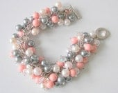 Pearl Cluster Bracelet, Coral Gray Blush Pink White and Crystal Bridesmaid Bracelet, Prom Bracelet,  Pearl Wedding Jewelry, Gift for Mom