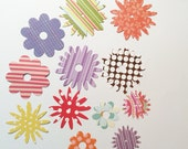 "12 Cute Flowers, Variety, 2 3/4"", 2 1/2"", 1 1/2"", Sizzix, Cardstock, Handmade, Die Cuts, Paper Cuts, Embellishments"