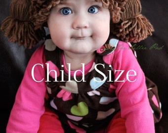 Cabbage Patch Kid Inspired Crochet Hat - Wig - CHILD Size Age 2-10 Years Old, Doll Costume Wig Hat - Beanie Hats - Custom Made to order