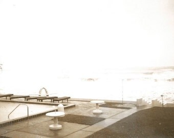 Deserted Swimming Pool - Vintage Photo - Early Polaroid - Stormy Ocean Waves - Snapshot - Found Vernacular Photo