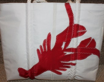 recycled red lobster sail bag