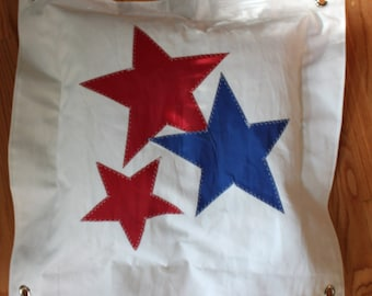 Recycled star sail pillow