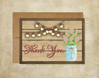 Mason Jar Rustic Thank You Note Cards Wedding Thank You notes Package of 10