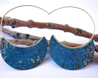 Silver Hoop Earrings with Verdigris Copper