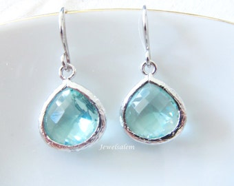 Aquamarine Earrings Silver Turquoise Earrings Mint Earrings Dangle Earrings Bridesmaid Earrings Modern Wedding Jewelry C1