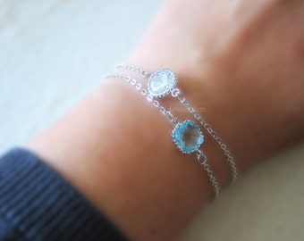 Silver Bracelet, Turquoise Birthstone, Diamond Cubic Zirconia, Friendship Bracelet, Sisters Gift, Bridesmaid Gift, Personalised Jewelry