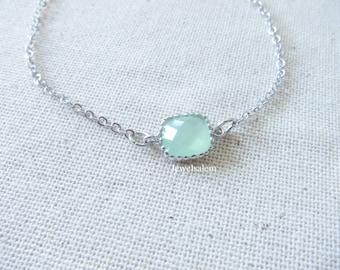 Silver Bracelet Delicate Bracelet Chain Mint Opal Bracelet Light Green Stone Bracelet Gift Simple Jewelry Modern Jewellery C1