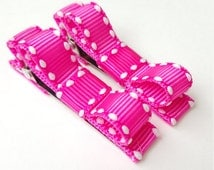 2 small hair bows-- hot pink and white saddle stich hair bows--infant baby girls--small clip barrettes