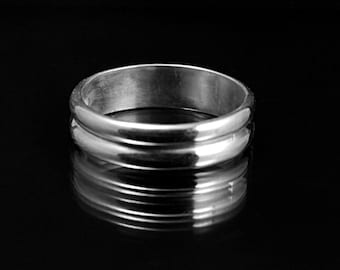 Men's Silver Wedding Ring-- Wide Band--5mm wide Double Half Round Sterling Silver Band Custom made in YOUR size
