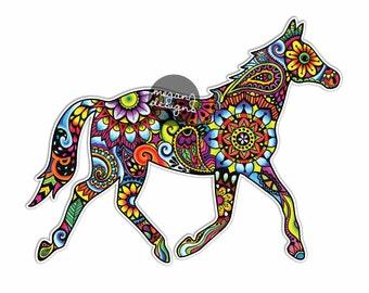 Horse Sticker Colorful Design Bumper Sticker Laptop Decal Car Decal Horse Equine Equestrian Pony Art Western Cowgirl Hippie Boho Cute Decal