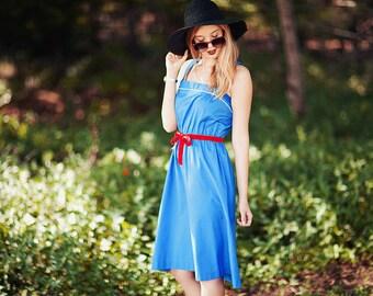 Vintage 70s Nautical Dress Blue Strap Sailor Dress