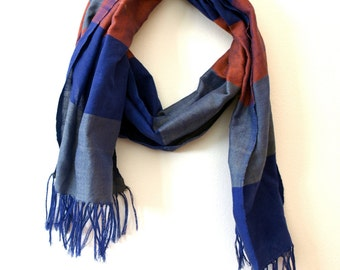 Blue Orange and Gray Striped Cotton Unisex Scarf Hand-woven in Ethiopia