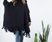 Oversized Tunic, Black Loose Sweater Poncho knitted neck merino wool, Plus size woven coat womens mens, Turtleneck sweater, Fringe Kimono,