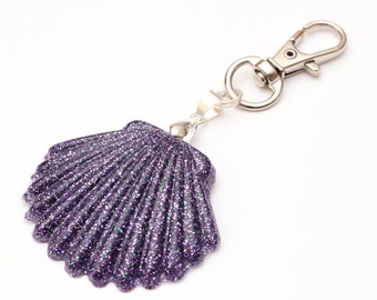 Purple Seashell Keychain