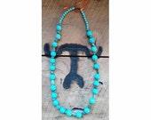 Turquoise Blue Magnesite & Chalk Turquoise beaded necklace