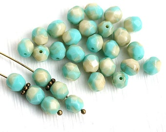6mm czech glass beads, Turquoise Beige mixed color, fire polished, round, faceted spacers - 30Pc - 0638