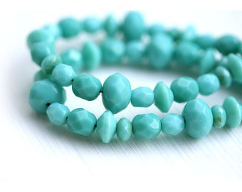 Turquoise beads mix, Fire polished czech glass beads, faceted, rondelle, donut, rondels - 15 gram - 1015