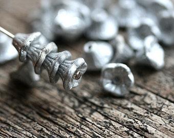 Silver Flower Cups, czech glass beads, Matte silver small flowers, bell beads, 7x5mm - 25Pc - 0984